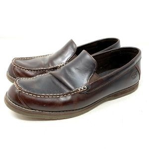 TIMBERLAND Brown Leather Slip-On Loafers Moccasins